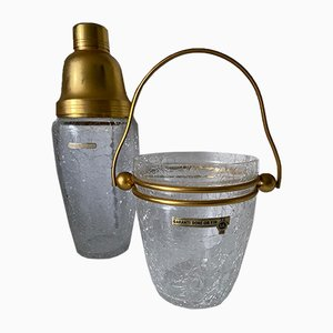 Shaker and Ice Bucket in Fine Gilt from Val Saint Lambert, 1960s, Set of 2