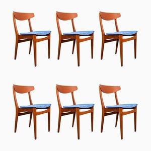 Danish Teak and Fabric Chairs from Samcom, 1960s, Set of 6