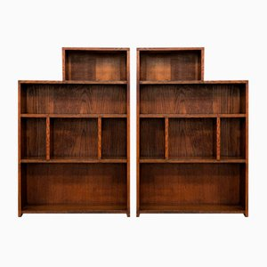 Big Antique English Edwardian Oak Bookshelves, Set of 2