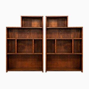 Große antike englische edwardianische Eichenholz Bücherregale, 2er Set