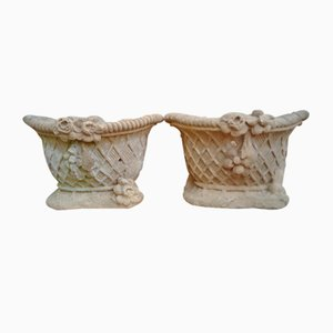 Antique Sandstone Garden Urn, 19th Century, Set of 2