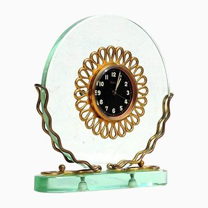 Italian Art Deco Crystal Table Clock, 1930s