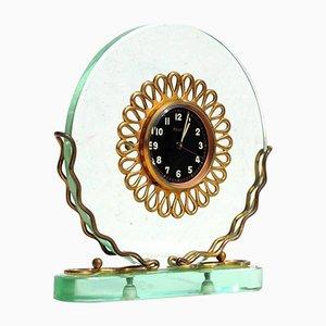 Orologio da tavolo Art Deco in cristallo, Italia, anni '30