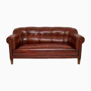 Antikes Schwedisches Leder Club Sofa
