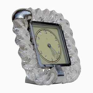 Art Deco Twisted Murano Glass Torchon Table Clock from Venini, 1930s