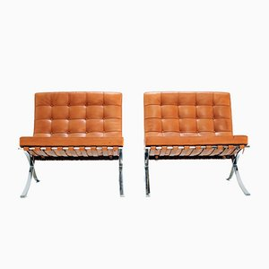 Vintage Barcelona Chairs by Ludwig Mies Van Der Rohe for Knoll Inc. / Knoll International, Set of 2