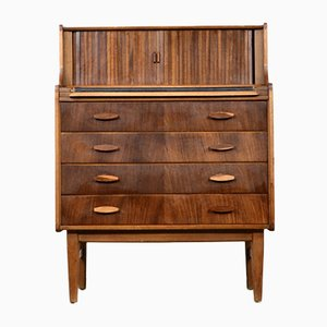 Mid-Century Teak & Walnut Secretaire with Tambour Doors by Welters of Wycombe