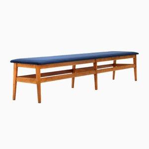 Wooden Bench with Blue Velvet Top, 1960s