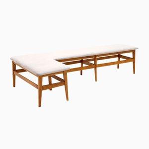 Angular Wooden Bench with Gray Velvet Seat, 1960s