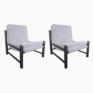 Vintage Lounge Chairs in Black Wood & Velvet, 1970s, Set of 2