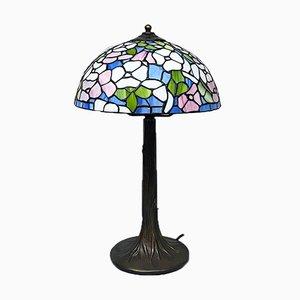 Italienische Mid-Century Modern Tiffany Tischlampe mit Gefärbtem Glas, 1960er