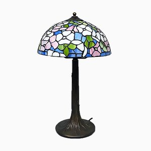 Mid-Century Modern Italian Tiffany Table Lamp with Liberty Colored Glass, 1960s