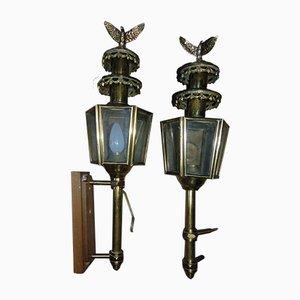 Art Deco Brass Coach Sconces, Set of 2