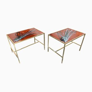 Italian Fontana Style Brass and Ceramic Side Tables, 1970s, Set of 2
