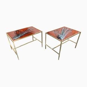 Italienische Messing und Keramik Beistelltische im Fontana Stil, 1970er, 2er Set
