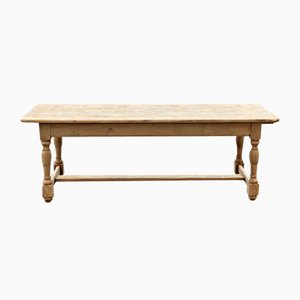 Big French Bleached Oak Farmhouse Dining Table with Extensions