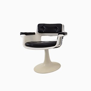 Mid-Century French Space Age Leather Lounge Chair by Albert Jacob for Grosfillex, 1970s