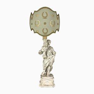 Lampe de Bureau avec Ange en Bois Sculpté Laqué Blanc