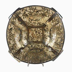 Tafelaufsatz aus rundem Glas und Nerzgefärbtem Silber
