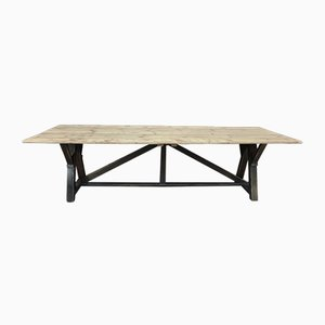 Long Dining Table in Fir with Natural Top & Black Patinated Legs, 1930s