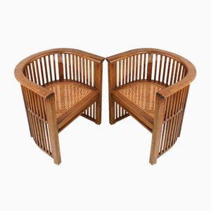 Antiker Sessel mit restaurierten Sitzen aus Schilfrohr von Hermann Muthesius, Deutschland, 1900er, 2er Set