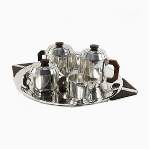 Art Deco Silver-Plated Coffee Service from Boulanger, 1920s, Set of 5