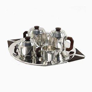 Versilbertes Art Deco Kaffeeservice von Boulanger, 1920er, 5er Set