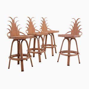Vintage Bar Stools from McGuire, 1980s, Set of 4