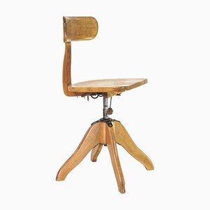 Antique German Bauhaus Wooden Architect Factory Chair by Albert Stoll for Giroflex