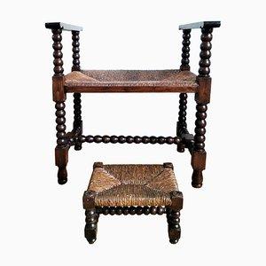 Antike Holzbank mit Fußhocker, Spanien, 2er Set