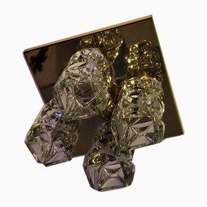 Gilt Brass & Faceted Glass Ceiling Lamp from Kinkeldey, 1960s