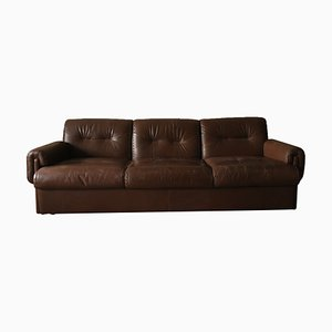 Mid-Century Swiss Stitched Brown Leather 3-Seat Sofa