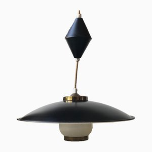 Black Suspension Ceiling Lamp by Bent Karlby for Lyfa, 1950s