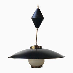 Schwarze Hängelampe von Bent Karlby für Lyfa, 1950er