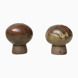Keramik Mushroom Vasen von Aage Würtz, 1970er, 2er Set