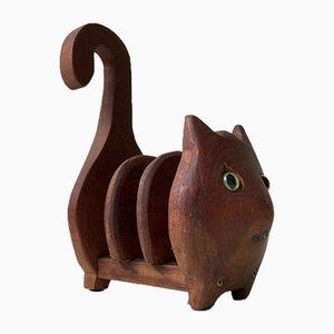 Vintage Teak Cat Serviettenhalter, 1970er