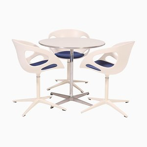 Round White Table and White Rin Dining Chairs by Fritz Hansen, Set of 3