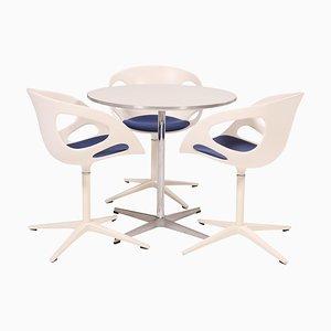 Table Ronde Blanche et Chaises de Salle à Manger Rin en Blanc par Fritz Hansen, Set de 3