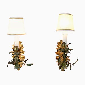 Italienische Tole Wandlampen, 1950er, 2er Set