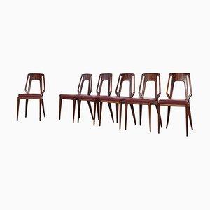 Chaises de Salon par Vittorio Dassi, Italie, 1950s, Set de 6