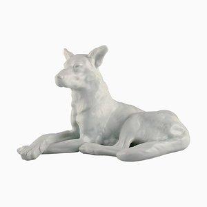 Große Herend Blanc De Chine Figur eines Deutschen Schäferhundes, 1930er