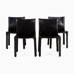 Cassina Cab 412 Leather Dining Room Chairs, Set of 4