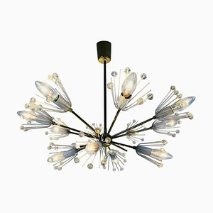Glass and Brass Snowflake Chandelier by Emil Stejnar for Rupert Nikoll, 1960s, Set of 2