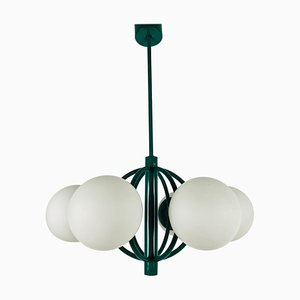 Large Green 6-Arm Space Age Chandelier from Kaiser, 1960s, Germany