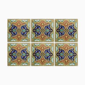 Ceramic Tiles, Valencia, 1900s, Set of 6