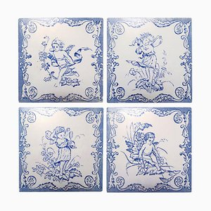 Ceramic Tiles with Angels, 1930s, Set of 4