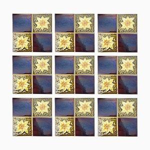 Platte aus 9 Glasierten Art Deco Relief Fliesen von SA Des Pavillons, 1930er, 9er Set