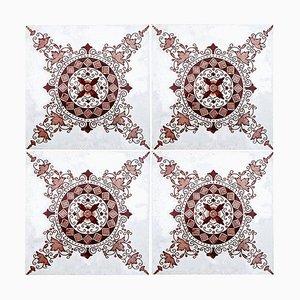 Dunkelrot / Braun Keramikfliese von Morialme, 1930er