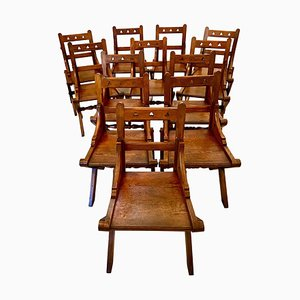 Antique Gothic Pitch Pine Dining Chairs, Set of 12