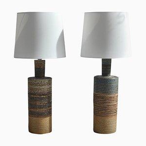 Skandinavische moderne Tue Poulsen Keramik Stehlampen in Erdfarben, 1960er, 2er Set